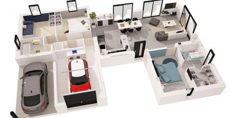 maison Paraos plan 3D maisons d'en france atlantique