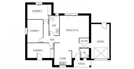 maison tramontane plan 2D maisons d'en france atlantique