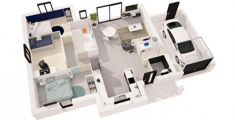 maison tramontane plan 3D maisons d'en france atlantique