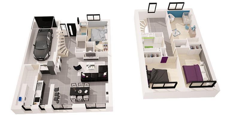 Wonderful Plan Maison  Chambres Etage Ideas  Best Image Engine