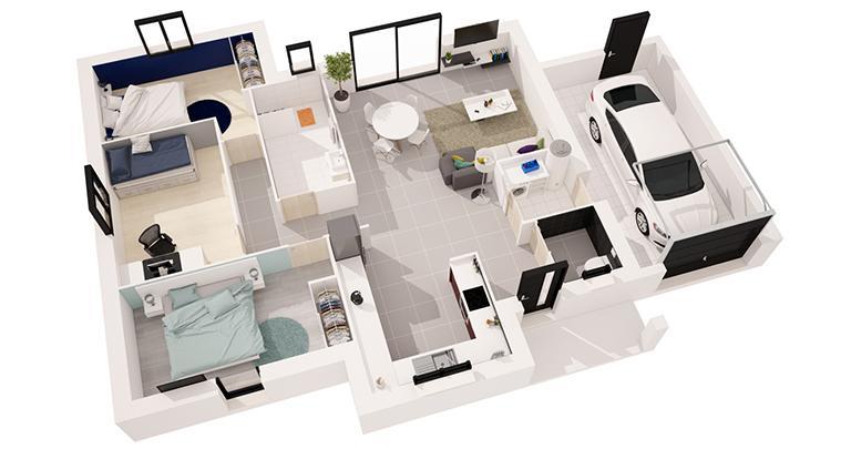 Tivano 93 m 3 chambres maisons d 39 en france - Maison avec interieur moderne et styles differents dans chaque piece ...