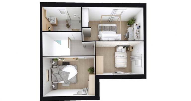 plan perspective étage avec 3 chambres