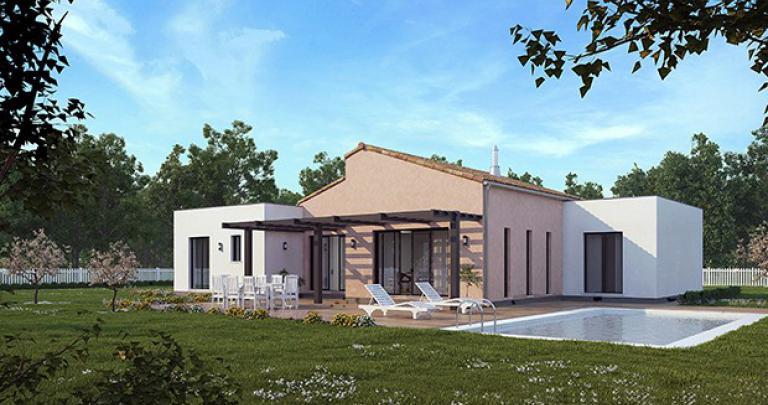 Maison Jonque contemporaine arrière | Maisons d'en France Atlantique
