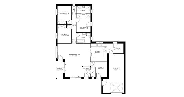 Maison moderne plain-pied plan | Maisons d'en France Atlantique