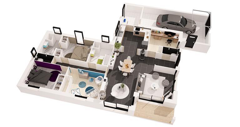 Maison moderne plain-pied 3D | Maisons d'en France Atlantique