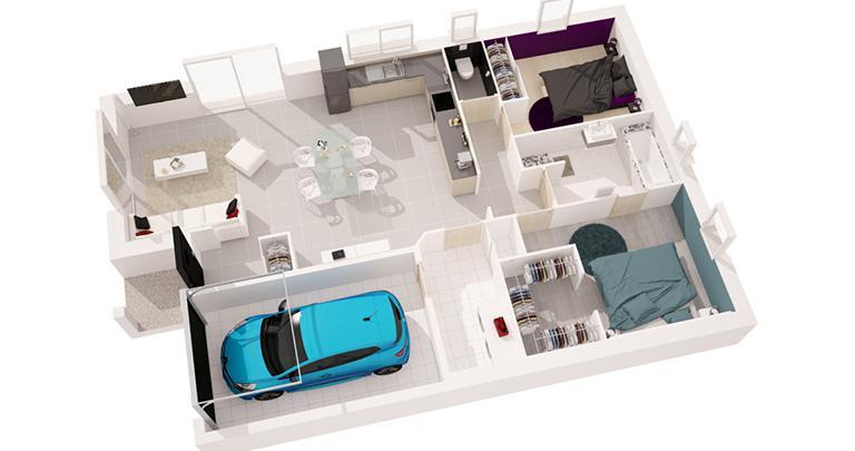Maison moderne Sitiha plan 3D | Constructeur 17,79,85