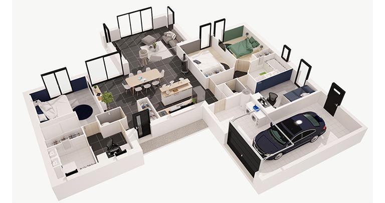 maison Kalice plan 3D Maisons d'en france Atlantique