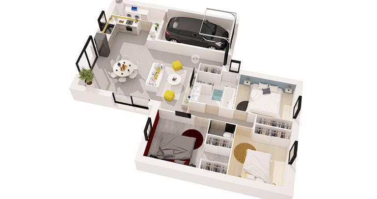 Maison Catalan moderne plan 3D | Constructeur Maisons d'en France Atlantique