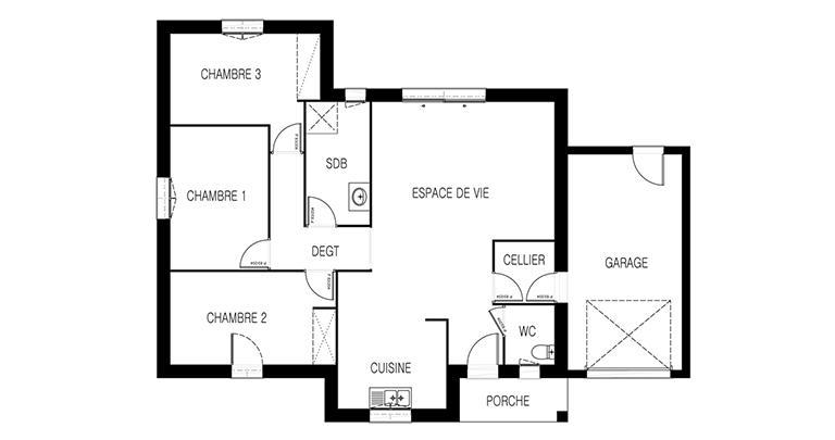 Maison moderne Tramontane plan 2D | Constructeur Maisons d'en France Atlantique