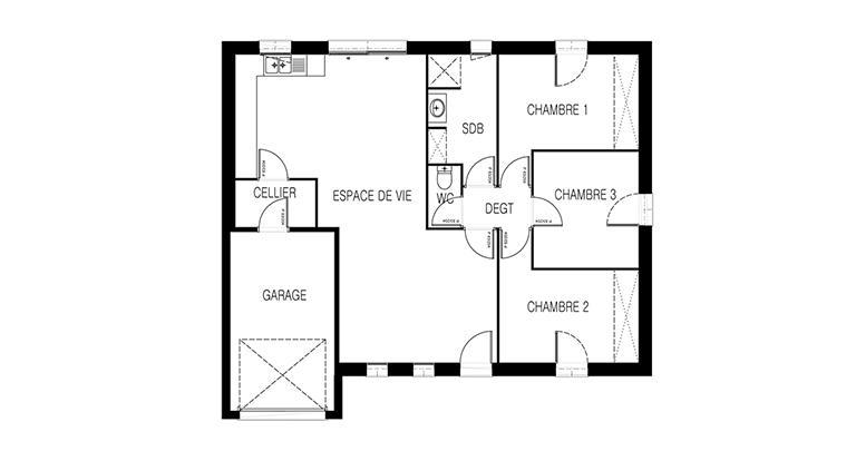 Constructeur maison neuve Loire Atlantique | Maison plain-pied Atlantique plan 2d