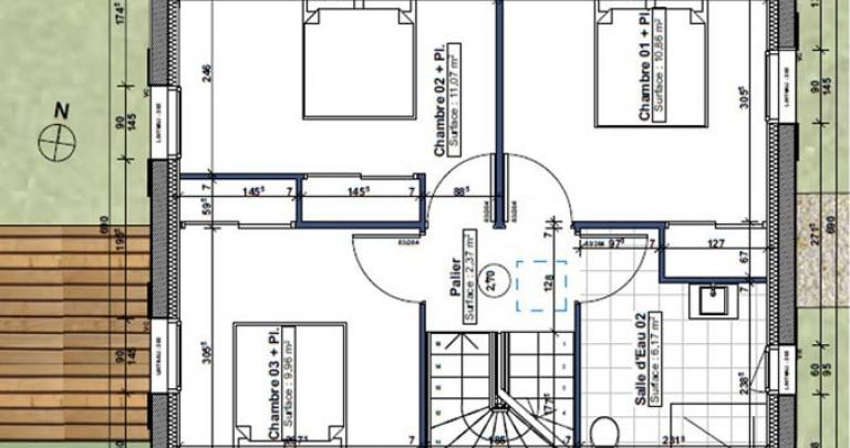 plan étage 3 chambre maisons neuves royan type a