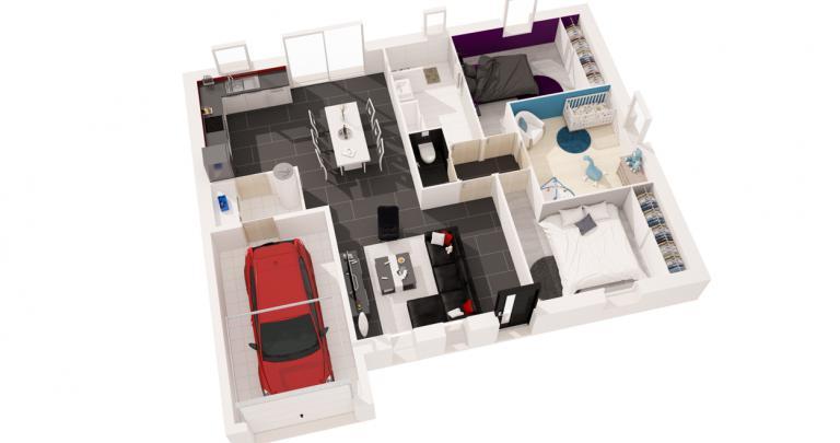 Constructeur maison neuve Loire Atlantique | Maison plain-pied Atlantique plan 3d