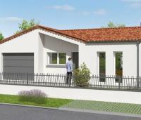 maison forme L avec garage et porche rampant