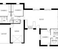maison plain-pied Paraos plan 2D maisons d'en france atlantique
