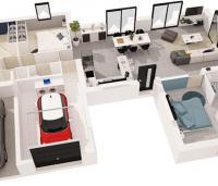 maison plain-pied Paraos plan 3D maisons d'en france atlantique