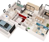 maison moderne Kalie plan 3D Maisons d'en france Atlantique