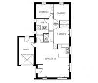 Maison Maloja plain-pied plan 2D | Constructeur 85,17,79