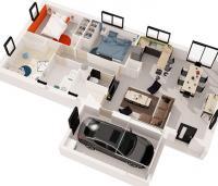 Maison Maloja plain-pied plan 3D | Constructeur 85,17,79