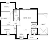 Maison de plain-pied Tivano plan | Maisons d'en France Atlantique
