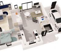 Maison moderne Tramontane plan 3D | Constructeur Maisons d'en France Atlantique