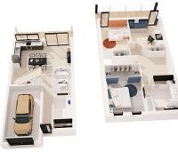 Maison Nephtis contemporaine à étage plan 3D | Maisons d'en France Atlantique